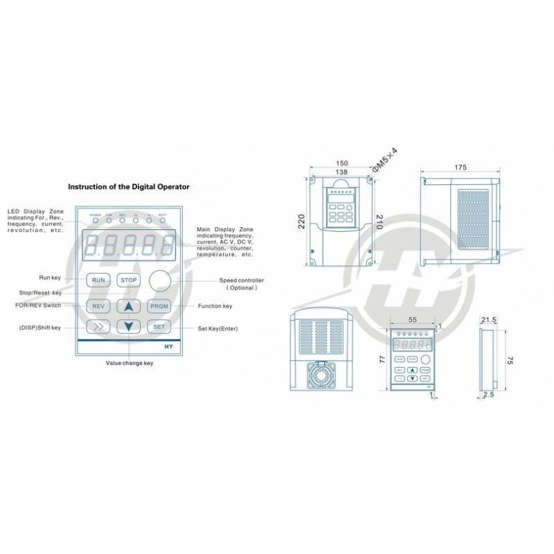 110v 2 2kw Frequency Drive Inverter Hy02d211b