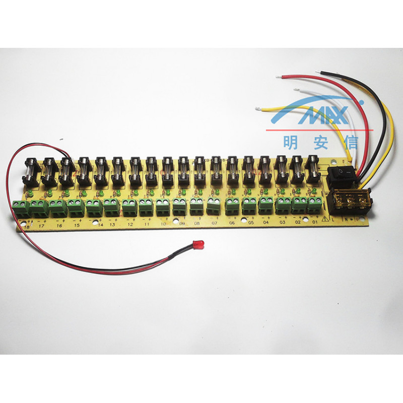 12V DC power distribution 18 ch PCB board terminal block for