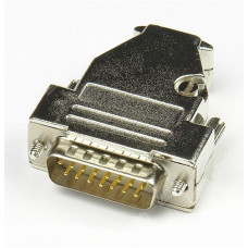 D-Sub 15-pin DB15 connector solid pin module+removable metal casing