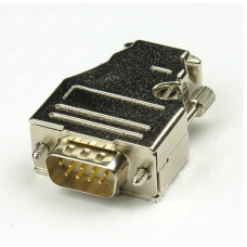 D-Sub 9-pin DB9 connector solid pin module+removable metal casing