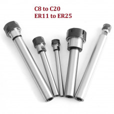 Straight Shank Collet CNC Milling Lathe Extension Rod C10 to C20 ER11 to ER25 with Nut
